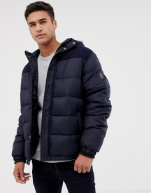 Threadbare Panelled Puffer Jacket With Hood afbeelding