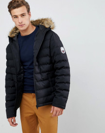 Threadbare Puffer Jacket With Faux Fur Trim Hood afbeelding