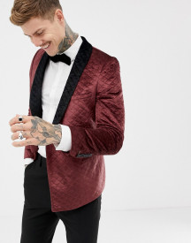 Twisted Tailor Super Skinny Quilted Smoking Jacket In Velvet afbeelding