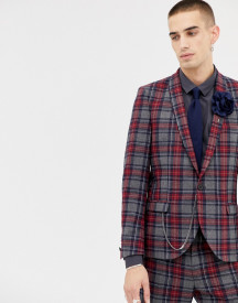 Twisted Tailor Super Skinny Suit Jacket With Tartan Check In Wool afbeelding