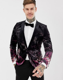Twisted Tailor Super Skinny Velvet Blazer With Faded Floral Print afbeelding