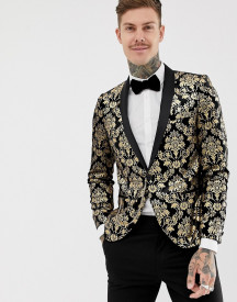 Twisted Tailor Super Skinny Velvet Blazer With Gold Print afbeelding