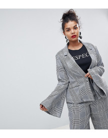 Unique 21 Hero Plus Fitted Blazer With Flared Sleeves In Prince Of Wales Check Co-ord afbeelding