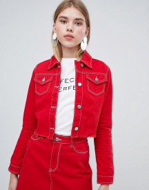 Urban Bliss Cropped Denim Jacket With Raw Hem afbeelding