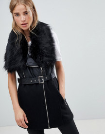 Urban Bliss Indiana Faux Fur Collar Wool Biker Mix afbeelding