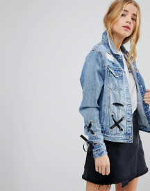 Urban Bliss Lace Up Denim Jacket afbeelding