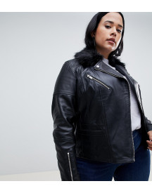 Urbancode Curve Leather Jacket With Faux Fur Collar afbeelding