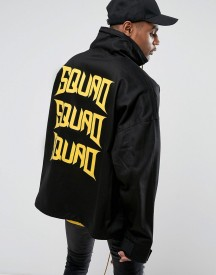 Visionair Overhead Jacket In Black With Funnel Neck And Back Print afbeelding