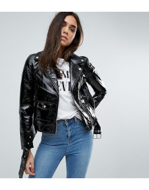 Warehouse Vinyl Zip Detail Biker Jacket afbeelding