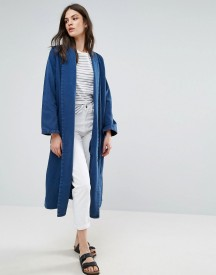 Waven Anja Flap Collar Denim Duster Coat afbeelding