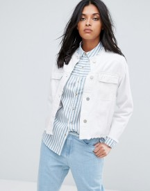 Waven Hanna Oversized Cropped Collarless Denim Jacket afbeelding