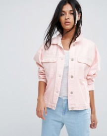 Waven Karin Pink Oversized Denim Jacket afbeelding