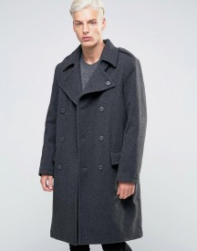 Weekday Major Military Overcoat Wool Double Breasted Belted afbeelding