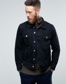 Weekday Single Denim Jacket Glory Black afbeelding