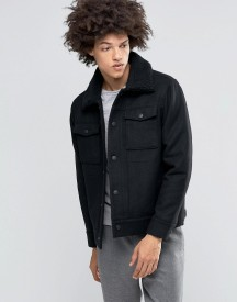 Weekday Son Wool Bomber Jacket Borg Collar afbeelding