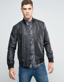 Wrangler Faux Leather Perforated Bomber Jacket afbeelding