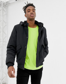 Yourturn Bomber Jacket In Black With Borg Lined Hood afbeelding