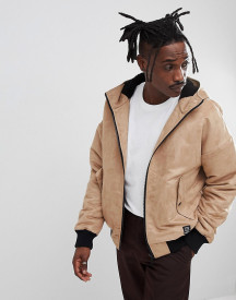 Yourturn Borg Lined Faux Suede Bomber Jacket In Stone afbeelding