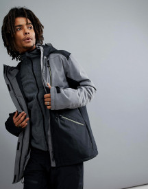 Yourturn Heavyweight Ski Jacket With Colour Block In Black And Grey afbeelding