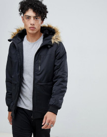 Yourturn Parka Jacket In Black With Faux Fur Hood afbeelding