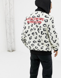 Yourturn Printed Bomber Jacket In White With Jersey Hood afbeelding