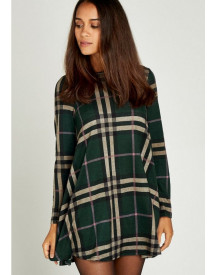 Nu 15% Korting: Apricot Tricotjurk Blanket Check Swing Dress afbeelding