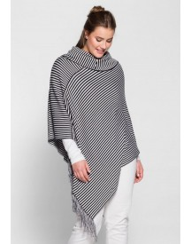 Sheego Casual Poncho Met Streepdessin afbeelding