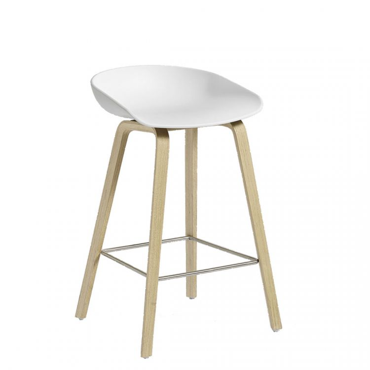Image Hay About A Stool Aas32 Barkruk-zithoogte 65 Cm-eiken-wit