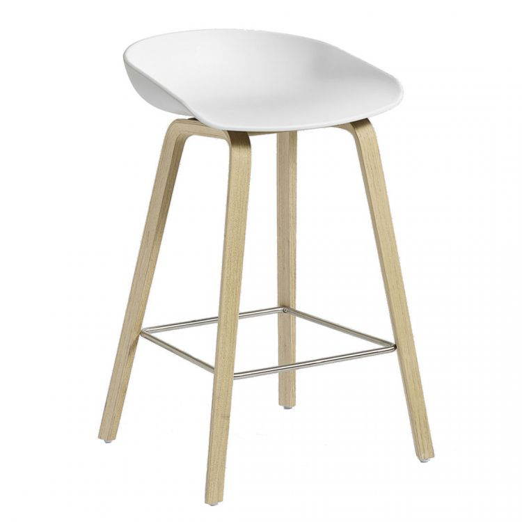 Image Hay About A Stool Aas32 Barkruk-zithoogte 75 Cm-eiken-wit