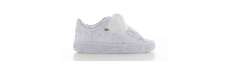 Puma Basket Heart Patent White Kids
