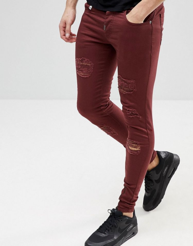 Image Ascend Denim Super Skinny Muscle Fit Jeans In Extreme Rips With Zips