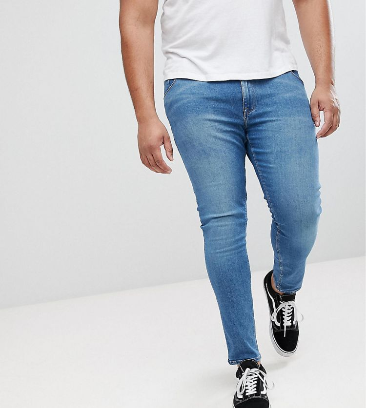 Image Asos Plus Extreme Super Skinny Jeans In Mid Blue