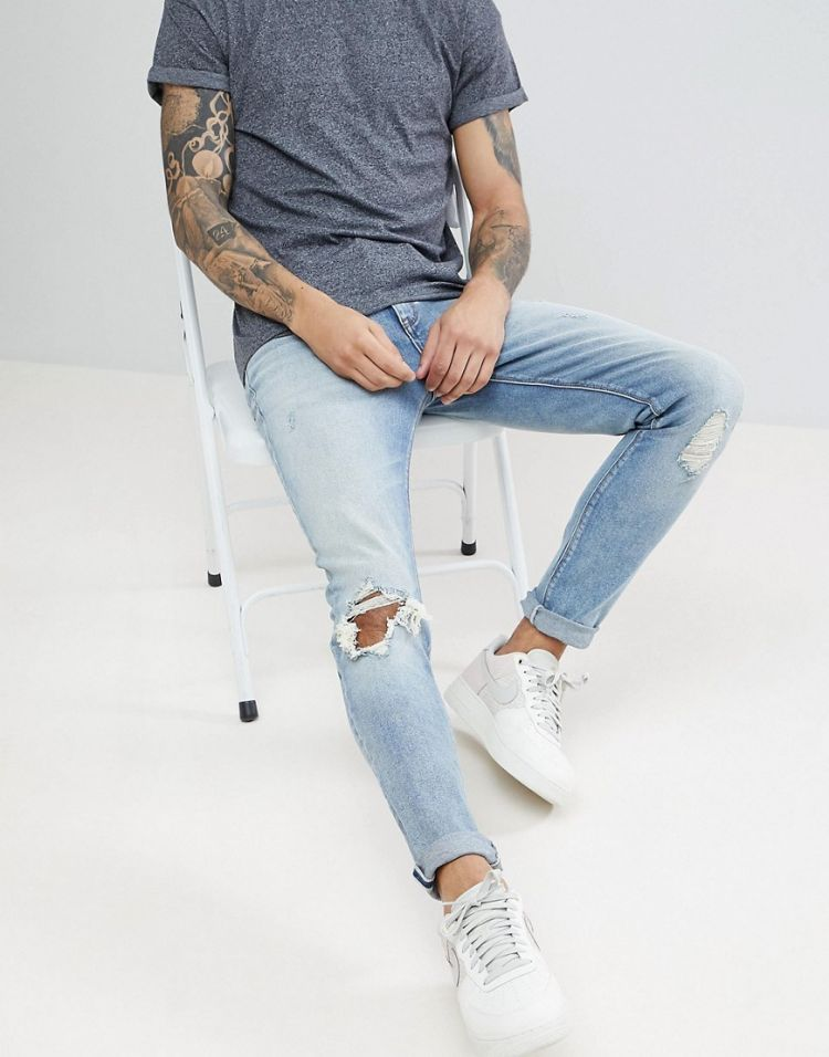 Image Asos Skinny Jeans In Vintage Light Wash Blue With Rips
