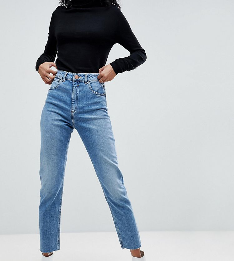 Image Asos Design Farleigh High Waist Slim Mom Jeans In Pretty Bright Mid Wash