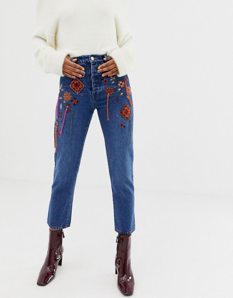 Image Asos Design Florence Authentic Straight Leg Jeans In Dusty Mid Blue Hanging Embroidery
