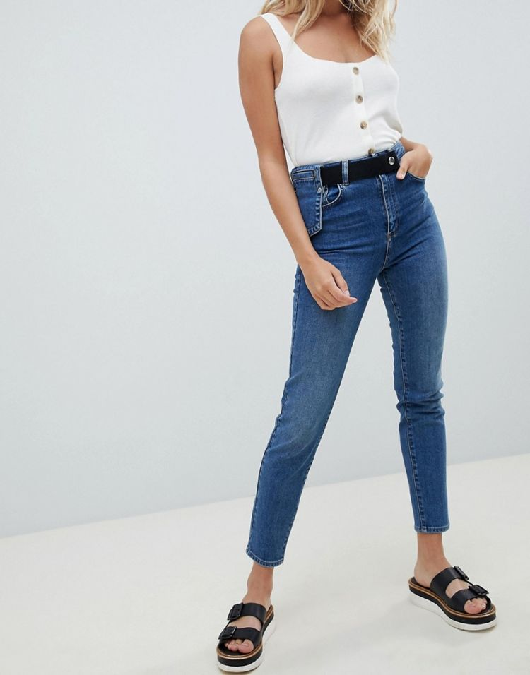Image Asos Design High Waist Slim Mom Jeans With Waist Utility Detail In Mid Blue Wash