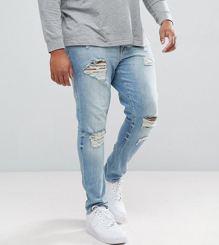 Image Asos Design Plus Skinny Jeans In Light Wash With Heavy Rips