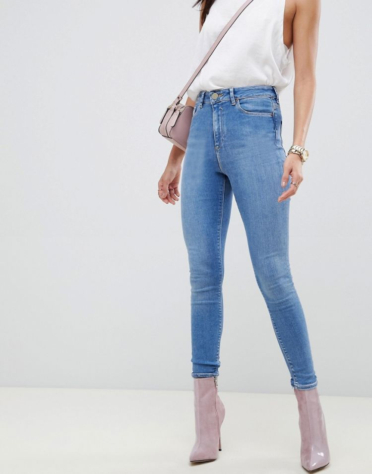 Image Asos Design Ridley High Waist Skinny Jeans In Lavender Blue Tone Wash