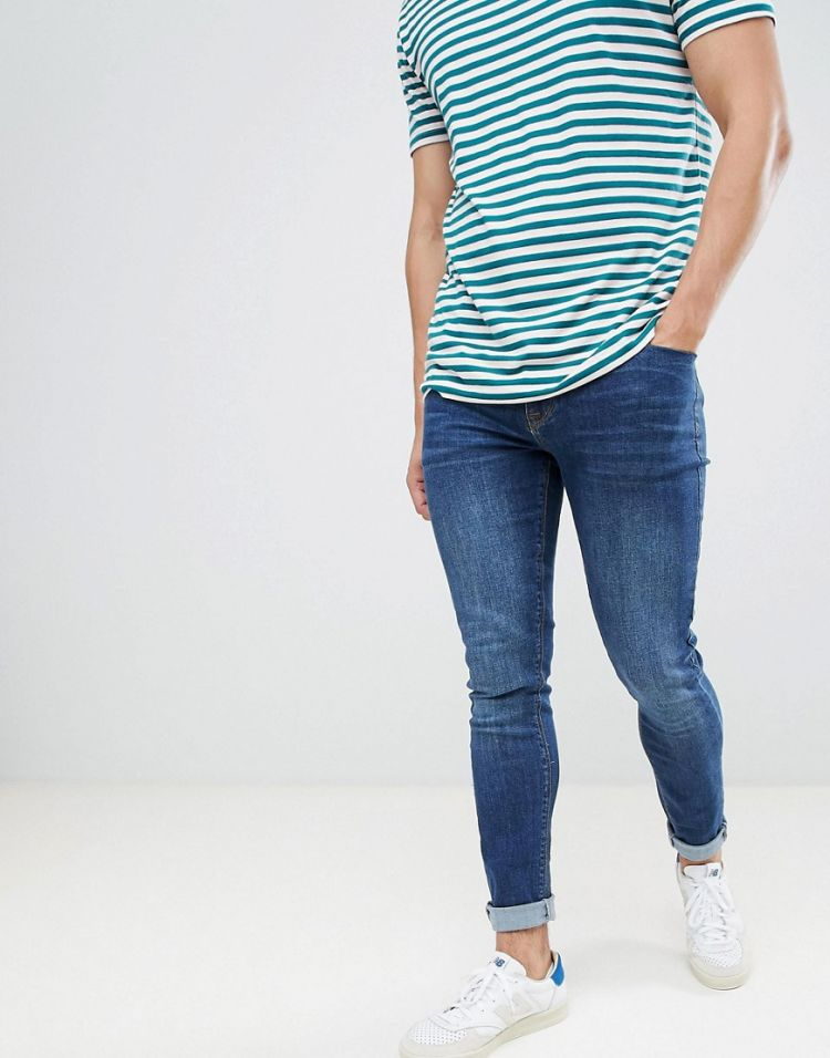 Image Asos Design Skinny Jeans In Dark Blue Wash