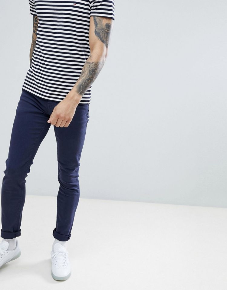 Image Asos Design Skinny Jeans In Navy