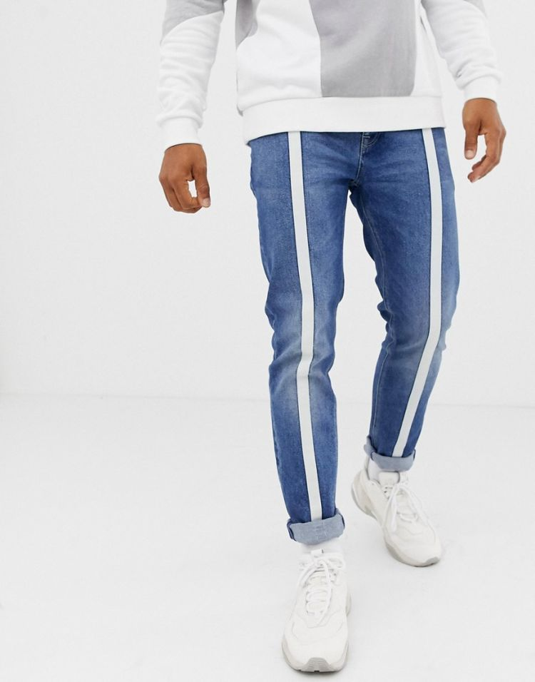 Image Asos Design Skinny Jeans In Vintage Mid Wash Blue With Front Stripe