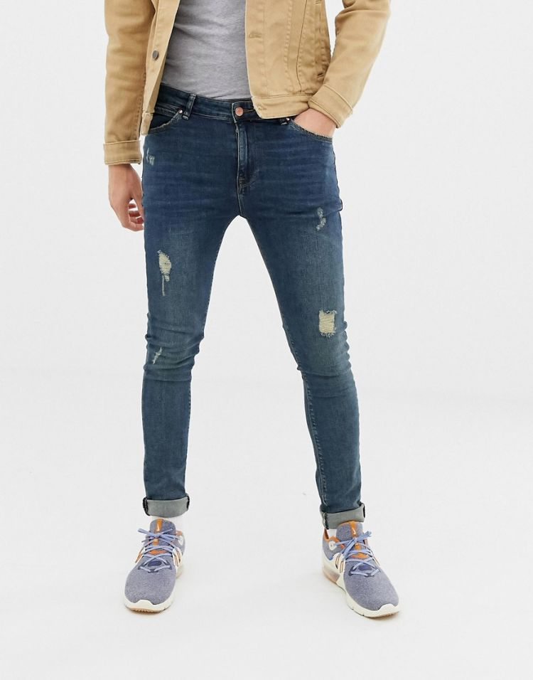 Image Asos Design Super Skinny Jeans In Dark Wash Blue With Abrasions