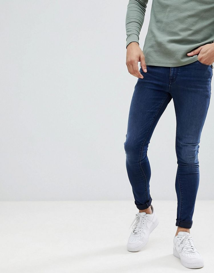 Image Asos Design Super Spray On Jeans In Dark Wash Blue