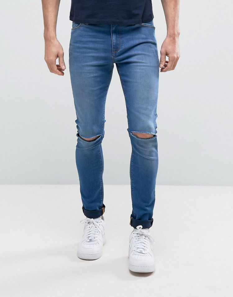 Image Asos Design Super Spray On Jeans With Knee Rips In Mid Blue