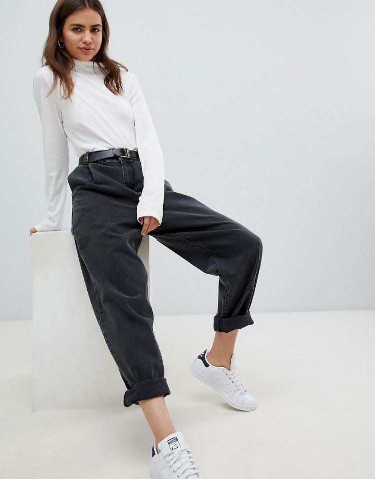 Image Asos Design Tapered Jeans With Curved Seams And Belt In Washed Black