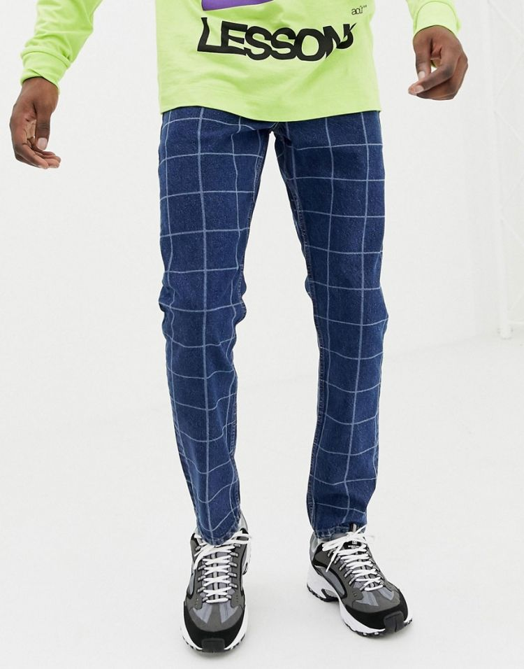Image Asos Design Vintage Slim Jean In Mid Wash Check Print
