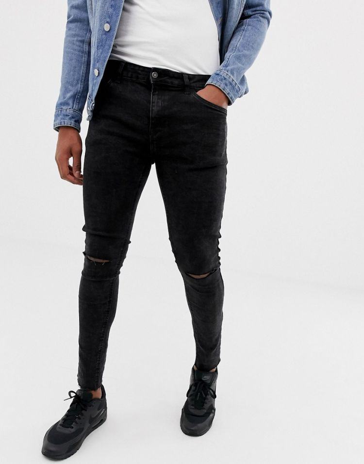 Image Bershka Super Skinny Jeans In Black Acid Wash With Knee Rips