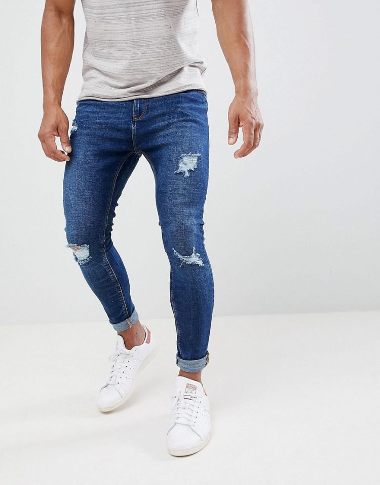 Image Bershka Super Skinny Jeans With Rips In Dark Blue