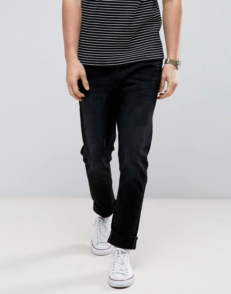 Image Casual Friday Slim Fit Jeans In Black With Distressing