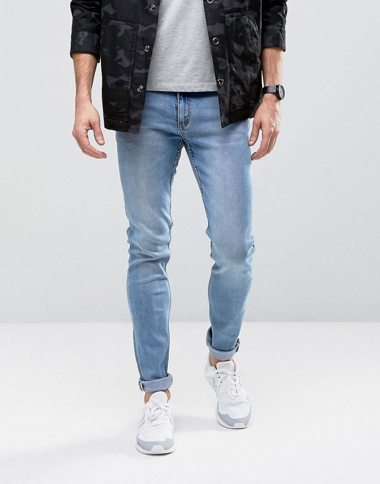 Image Cheap Monday Tight Jeans Skinny Fit In Stonewash Blue